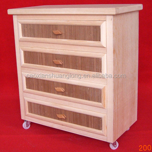 Wooden furniture living room cabinet wheels solid wooden cabinet with drawers