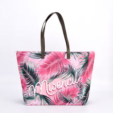 PU Leather Handle Ladies Tote Shopping Shoulder Bags For Women Summer Beach Bag