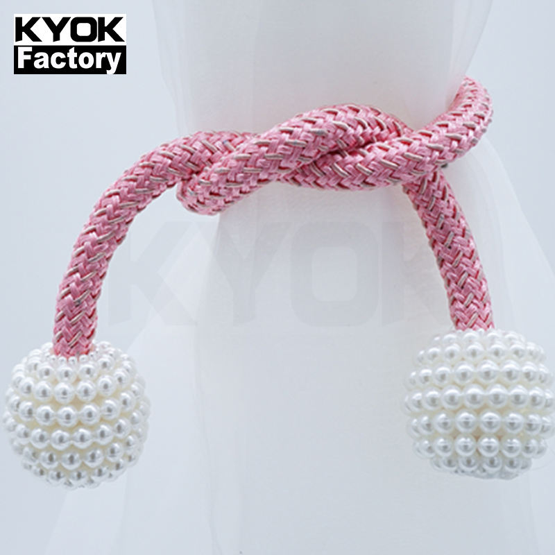 KYOK Beautiful curtain pearl tie back magnetic curtain tassel tiebacks Curtain Hooks Tiebacks