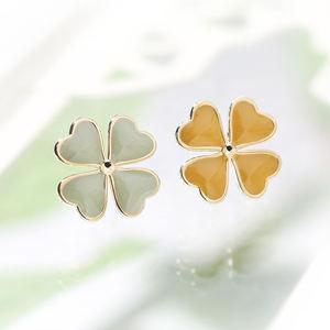 Wholesale Fashion 925 Silver Lucky Four Leaf Clover Earrings Women