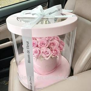 Hot Sale Transparent Clear Plastic Preserved Bouquet Round Gift PVC Packaging Box for Flowers with Ribbon Handle