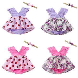 2019 latest fashionable style diverse jumpsuit dress wholesale jumper clothes baby rompers with headband