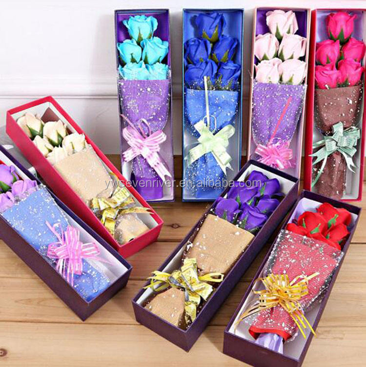 Soap flower valentine's day home decoration gift box packing beautiful rose flower bouquet