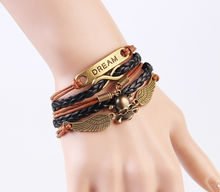 Fashion skull jewelry men brown leather bracelet,bracelet men