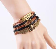 Fashion skull jewelry men brown leather bracelet,bracelet men