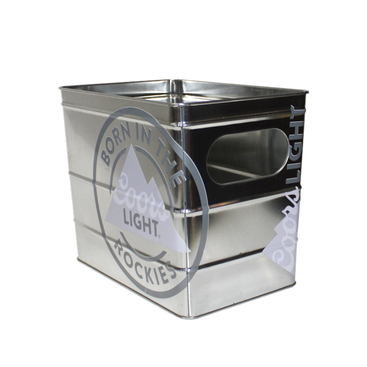 Rectangular Shape Tin Box Silver Containing Box Terraced Metal Buckets Custom OEM Beer Can