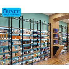 Customized Retail Pharmacy Display Furniture Metal Medical Shop Rack Wooden Pharmacy Shelves For Display