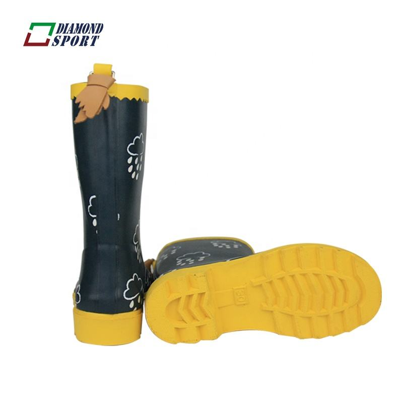 European style funky fur lining rubber rain boots for kids