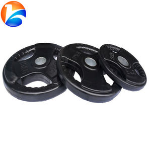 Rubber Coated Tri Grip Weight Plate for Powerlifting
