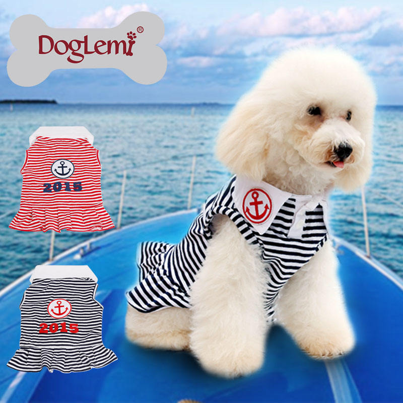New Custom Jangkar Stripe Musim Panas Musim Semi Pet Puppy pakaian anjing dress