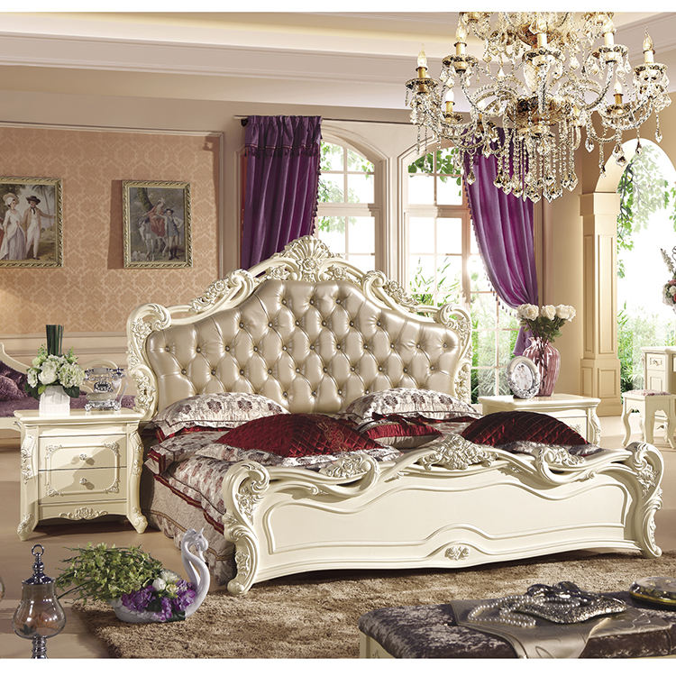 Top Quality Home Furniture / Carved Bed Room Set / Solid Wood Modern Design Bedroom Set