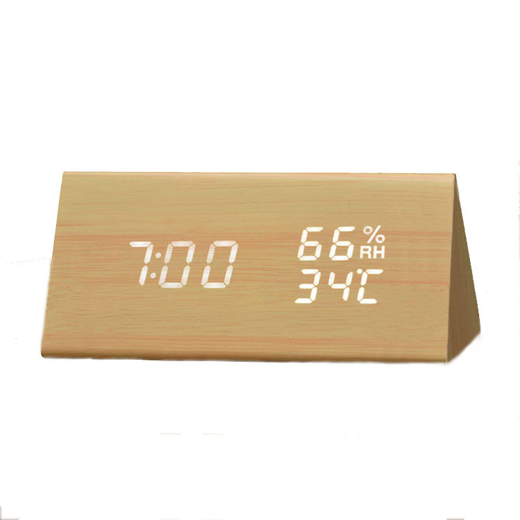 Promotional Digital Triangle LED Wooden Alarm Clock