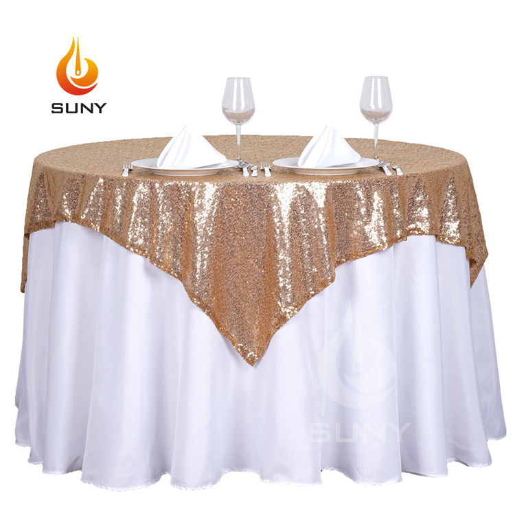 "90"" x 90"" Champagne Sequin Tablecloth Elegant Wedding Table Linens"