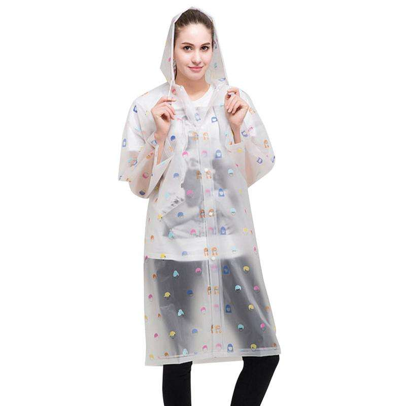 New Fashion Women Floral Transparent Plastic Girls Raincoat Travel Waterproof Rainwear Adult Poncho Outdoor Rain Coat