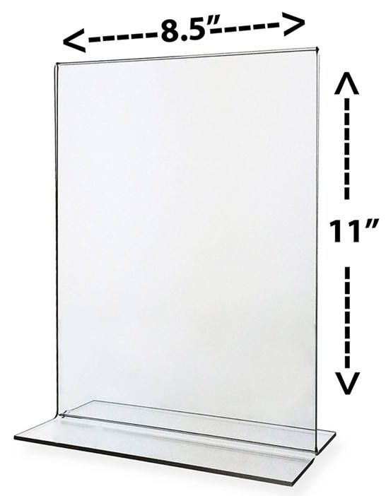Clear t style acrylic sign holders 8.5 x 11