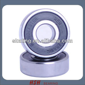 Spin 5 min 20 seconds 608 8mm single rubber seal nylon hybrid ceramic black ball Si3N4 skateboard bearing