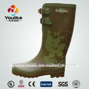 ファッション平らな茶色yl8038設計ウェリントンブーツ