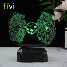 Creative Gifts Tie Fighter Lamp 3D Deco Vision Desk Lampara Led USB 7 Colors Changing Baby Sleeping Night Light