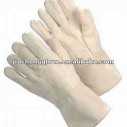 "Cheap wholesale 30 oz hotmill 3-ply white cotton canvas 4.5"" gauntlet cotton glove"
