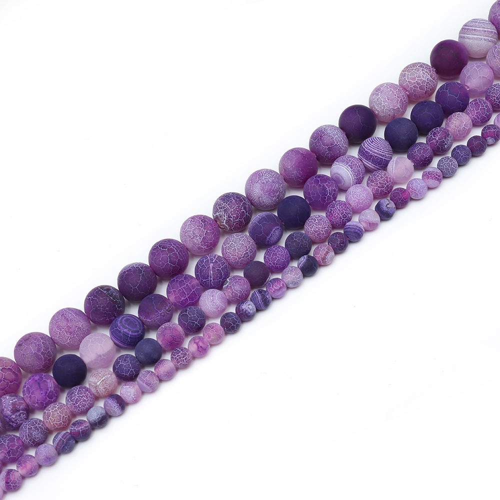 Natural Stone Jewelry 4mm 6mm 8mm 10mm 12mm Purple Frosted Effloresce Agate Stone Ball Beads Gem for Jewelry