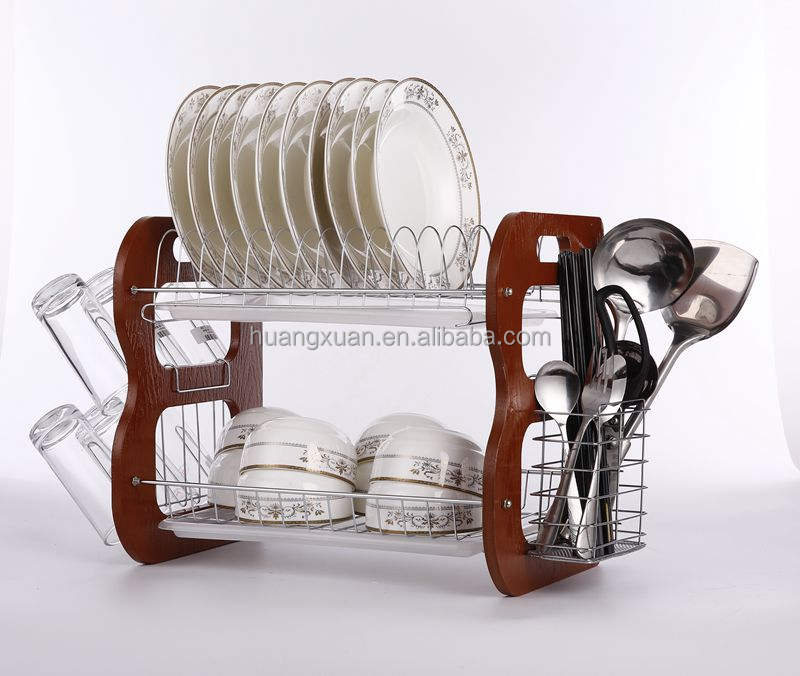 metal wire wooden dish rack with glass holder dish rack