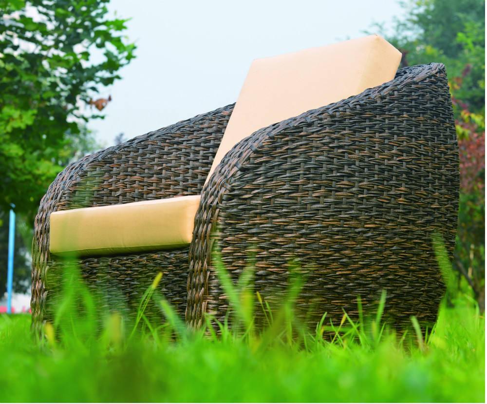 Cómodo jardín handweaved amortiguador al aire libre sofá <span class=keywords><strong>de</strong></span> <span class=keywords><strong>mimbre</strong></span> moderno