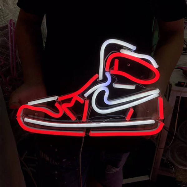 Electronic 12v factory waterproof custom shoes acrylic flash advertising led flex neon light sign