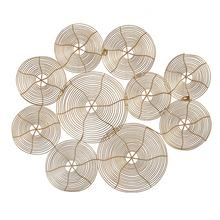Mayco Modern Livingroom House Indoor Hotel Wrought Iron Wire Flower Decorative 3D Metal Circle Wall Art