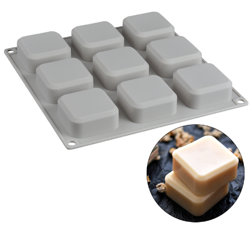 Chinese Factory Good Quality Easy To Clean 9 Cavities Silicone Industrial Soap Molds For Lux Diy Soap