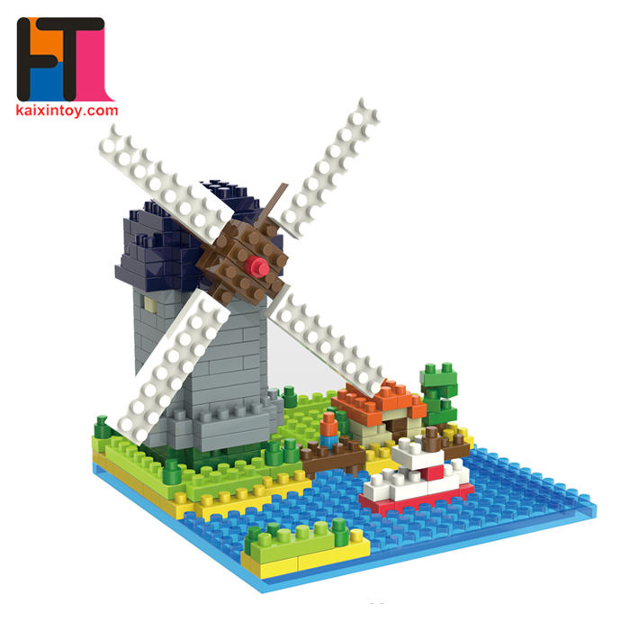 317pcs small plastic toy Dutch Windmill model diamond building block