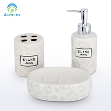 Wholesale Hotel Home Novelty 4pcs Simply Ceramic Bathroom Accessories Set