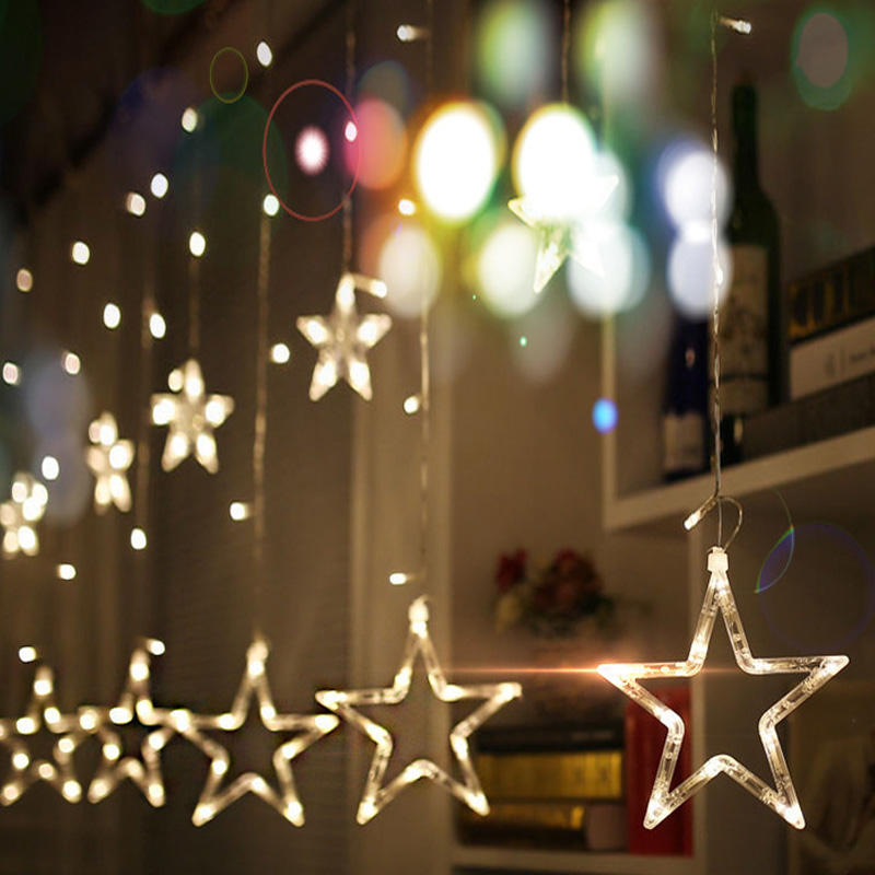 Twinkle Star 10 Stars 138 LED Curtain String Lights Window Lights with 8 Flashing Modes Decoration for Christmas Holiday Lights