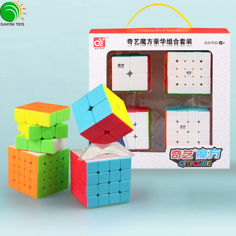 Qiyi 2x2x2 3x3x3 4x4x4 5x5x5 Stickerless Magic Speed Cube Set packing Gift Cubes rubi Toys For Kids