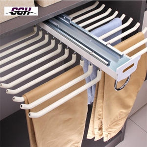 Hangers for cloths wardrobe pull out pants rack clothes hanger rack chrome sliding hanging storage basket