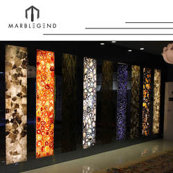 Luxury wall decoration design chinese supplier gemstone Brazilian Backlit agate slab for hotel