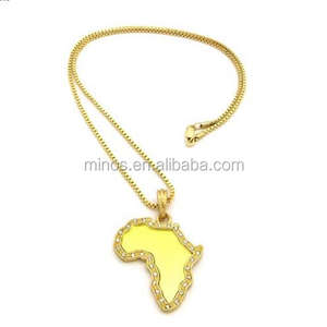 Stainless Steel Gold Plated Pave Edge Micro Africa Mirror Pendant Chain Necklace