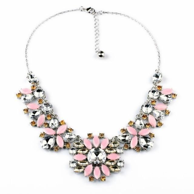 Plateado 2014 primavera verano último collar de plata collar de color rosa accesorios de moda collar de diamantes de imitación d