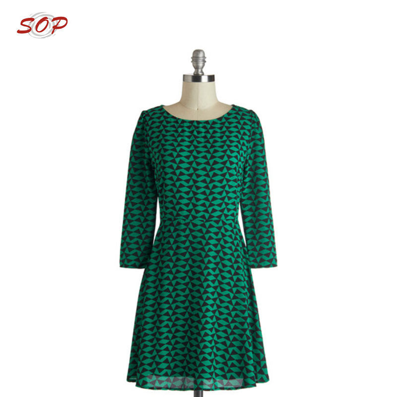 Pictures of Elegant Geometry House Casual Dresses Long Sleeve Round Neck for Woman