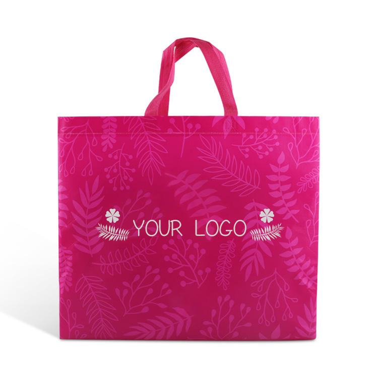 custom logo design laminated reusable non woven fabric tote shopping package carry bag