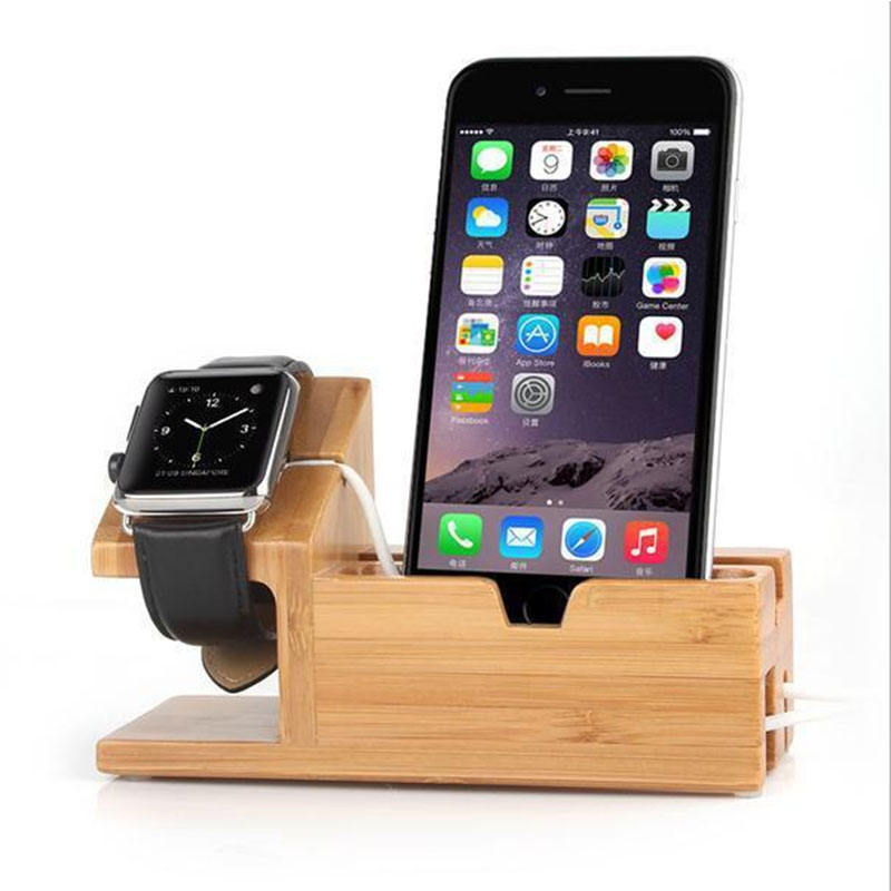 Bamboo wood usb charging docking station for apple watch stand, for iphone charging wooden mobile phone holder docking station