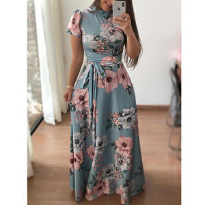 Fashion women dress flowers ladies long sleeves dresses smart casual floral dress maxi