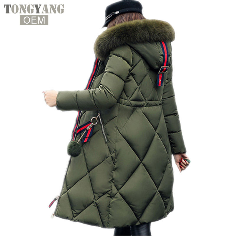 TONGYANG Big fur winter coat thickened parka women stitching slim long winter coat down cotton ladies down parka down jacket
