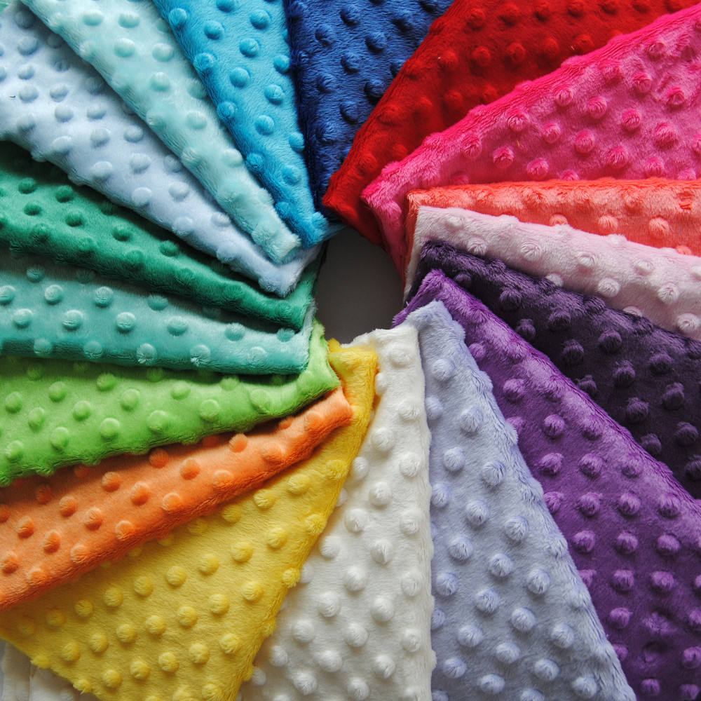 Small MOQ 50mts Mixed Colors China Factory Low Price Polyester Dot Minky Fabric