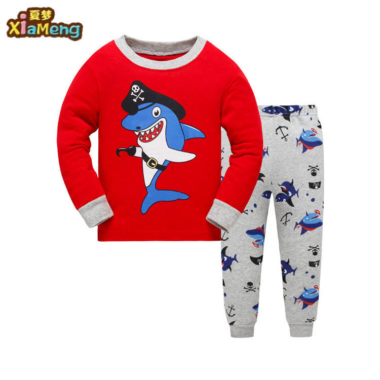 Wholesale red shark animal comfort kids pajamas children's clothing 2 pcs