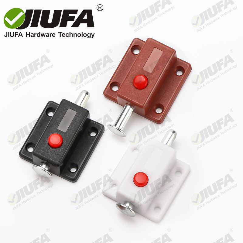 JIUFA Furniture Hardware Spring Loaded Automatic Button Plastic Push Latch Push To Open Spring Furniture Cupboard Latch