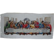 hot sale last supper hand embroidery chinese cross stitch with flowers