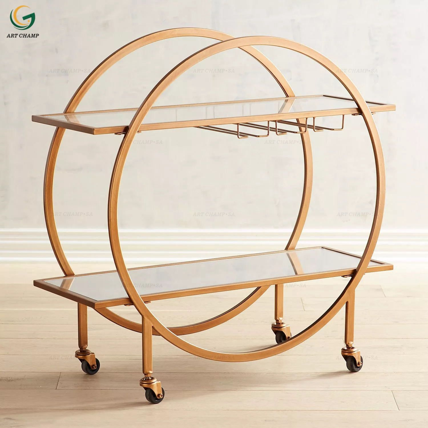 Antiqued Dark Gold Round Metal Drinks Trolley With Glass