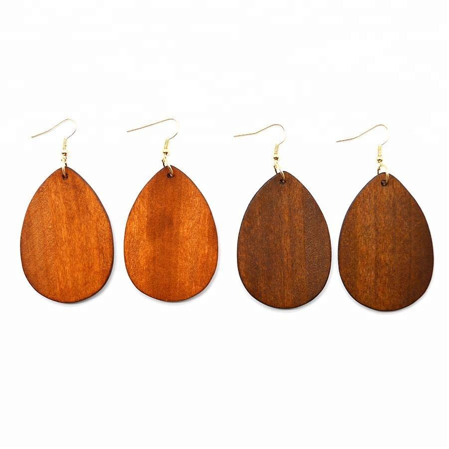 Personalized Blank Vintage Retro Classic Teardrop Wooden Earrings For Women Colorful Hook Dangly Drop Pendants Earrings