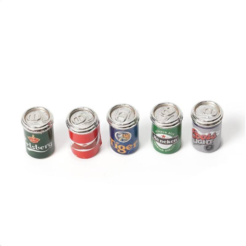 1:12 Dollhouse Miniature Food & Drink Wine Beer Pop-top cans Set of 5pcs FE005E