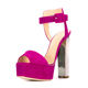 Good quality rosy color suede upper top thick stylish beautiful new design ladies summer high heel sandals